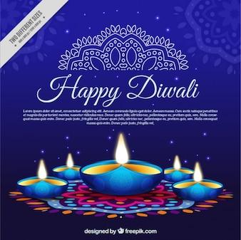 Fondo azul con velas de diwali