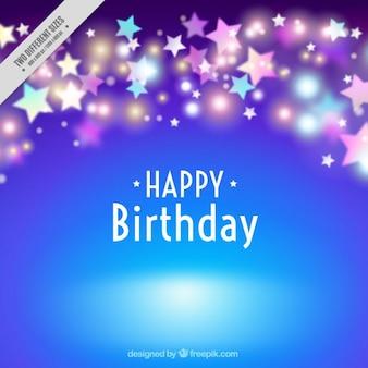 Fondo azul cumpleaños con estrellas brillantes