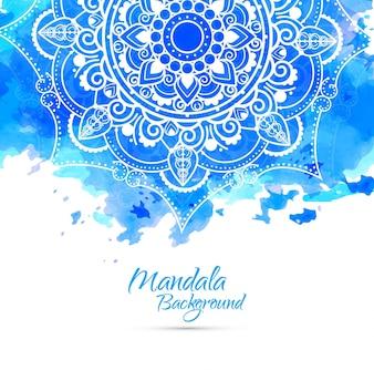 Fondo azul de acuarela con mandala dibujado a mano