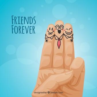 Fondo azul de amistad con simpáticos dedos