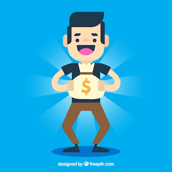 Fondo azul de chico feliz con bolsa de dinero brillante