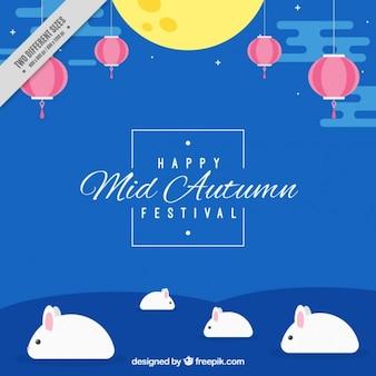 Fondo azul de conejitos del festival del medio otoño