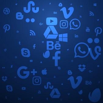 Fondo azul de los medios sociales