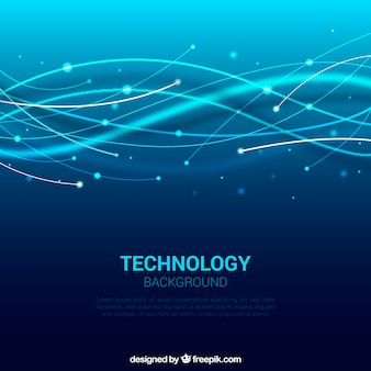 Fondo azul de ondas tecnológicas