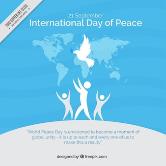 Fondo azul de personas con el símbolo de la paz