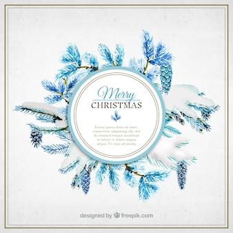 Fondo azul de plantas de navidad en acuarela