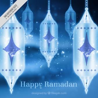 Fondo azul de ramadan con faroles
