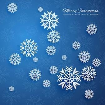 Fondo azul oscuro con copos de nieve