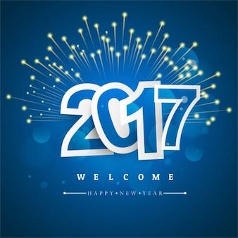 Fondo azul oscuro con fuegos artificiales para año nuevo