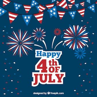 Fondo azul oscuro con guirnaldas y fuegos artificiales para el día de la independencia