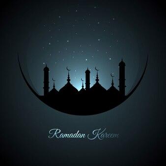 Fondo azul oscuro de ramadán