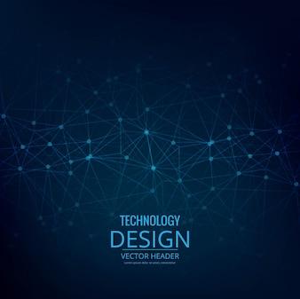 Fondo azul tecnológico con puntos y líneas