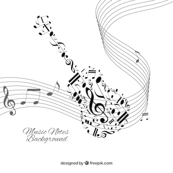 Fondo blanco con notas musicales negras