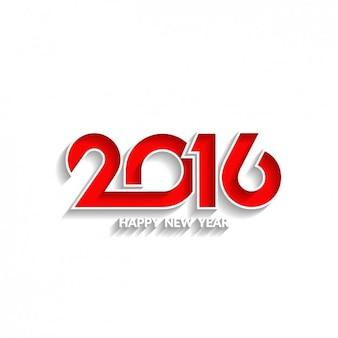Fondo blanco de Año Nuevo con 2016 en rojo