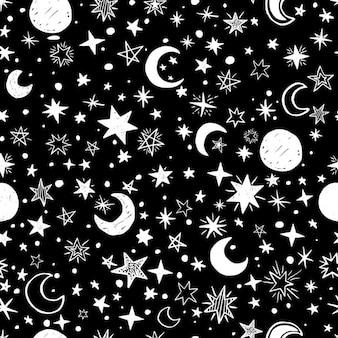 Fondo blanco y negro de lunas y estrellas