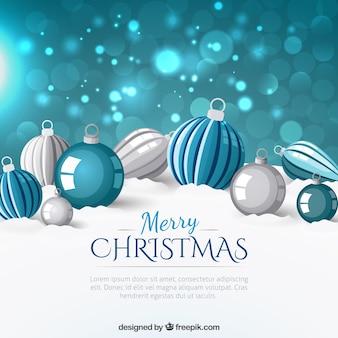 Fondo Bokeh con bolas de navidad
