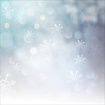 Fondo bokeh de invierno con copos de nieve