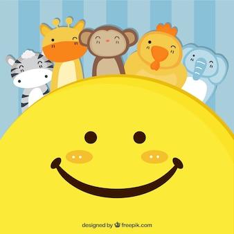 Fondo bonito con cara sonriente y animales felices decorativos