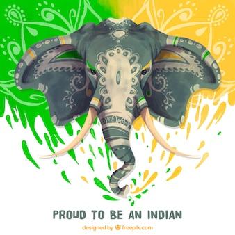 Fondo bonito con elefante de acuarela para el día de la república india