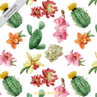 Fondo bonito de cactus y flores con efecto acuarela
