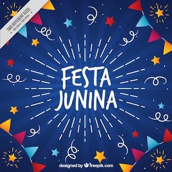 Fondo bonito de fiesta junina dibujado a mano