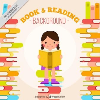 Fondo bonito de niña feliz leyendo un libro