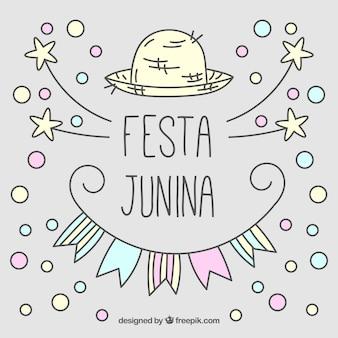 Fondo bonito dibujado a mano de fiesta junina con círculos y estrellas