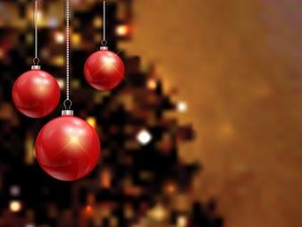 Fondo borroso con bolas de navidad rojas