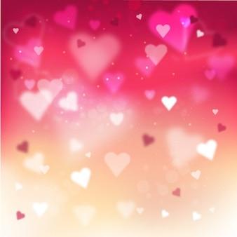 Fondo borroso con corazones