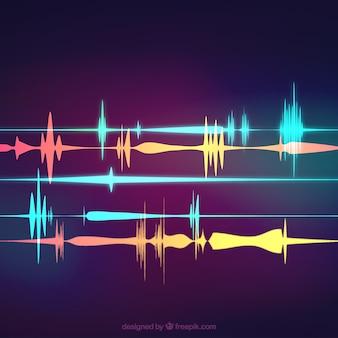Fondo borroso con ondas sonoras de colores