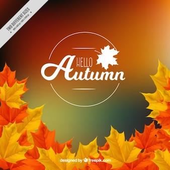 Fondo borroso de otoño con hojas
