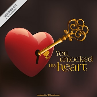 Fondo borroso de san valentín con corazón y llave
