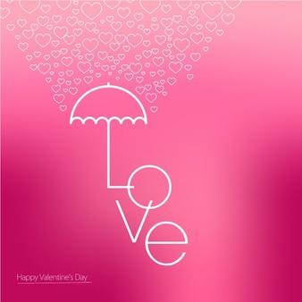 Fondo borroso de San Valentín con paraguas