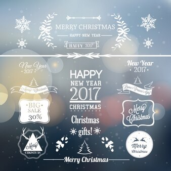 Fondo borroso etiquetas navidad