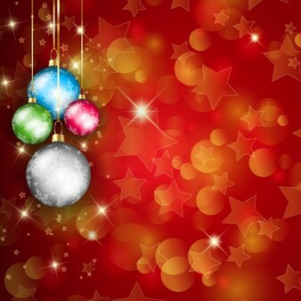 Fondo brillante con bolas de navidad coloridas