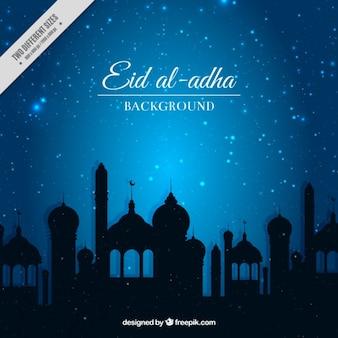 Fondo brillante de eid al adha en color azul
