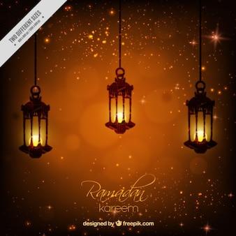 Fondo brillante de ramadan con faroles iluminados