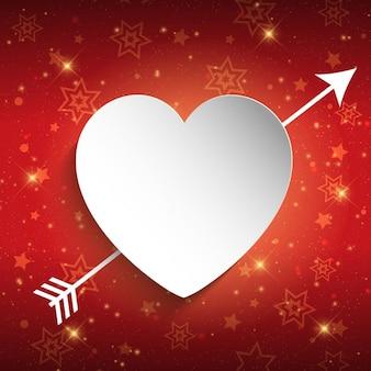 Fondo brillante de San Valentín con corazón blanco