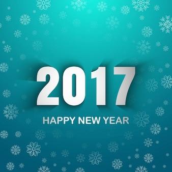 Fondo celeste de año nuevo 2017 con copos de nieve