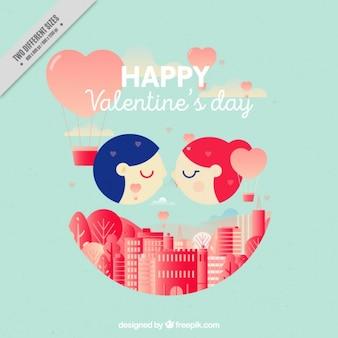 Fondo ciudad con bonita pareja el día de san valentín