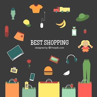 Fondo colorido con bolsas y elementos de la compra