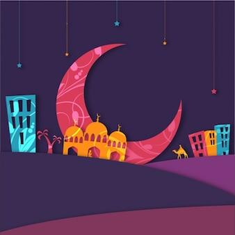 Fondo colorido con mezquita y luna para eid mubarak