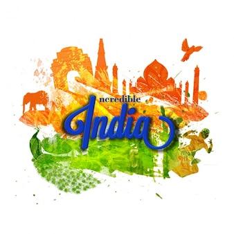 Fondo colorido con siluetas para el día de la república de la india