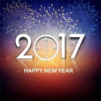 Fondo colorido de año nuevo 2017 con fuegos artificiales