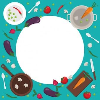 Fondo colorido de cocina con un marco redondo