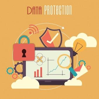 Fondo colorido de elementos de protección de datos