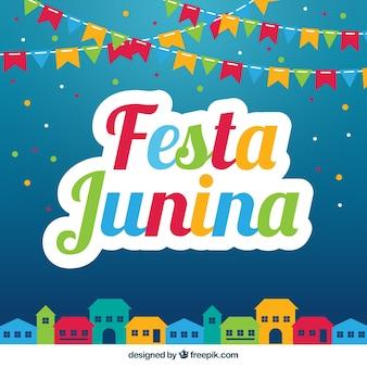 Fondo colorido de fiesta junina