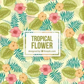 Fondo colorido de flores tropicales en acuarela