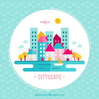 Fondo colorido de paisaje de ciudad en diseño plano