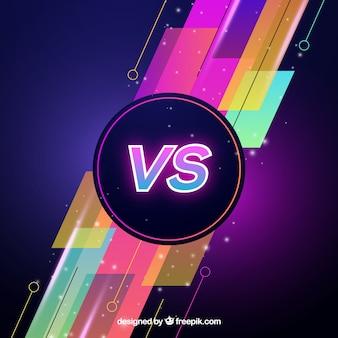 Fondo colorido de versus con luces de neón
